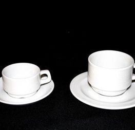tasses + sous-tasses café ou moka 0.25cts hors tva